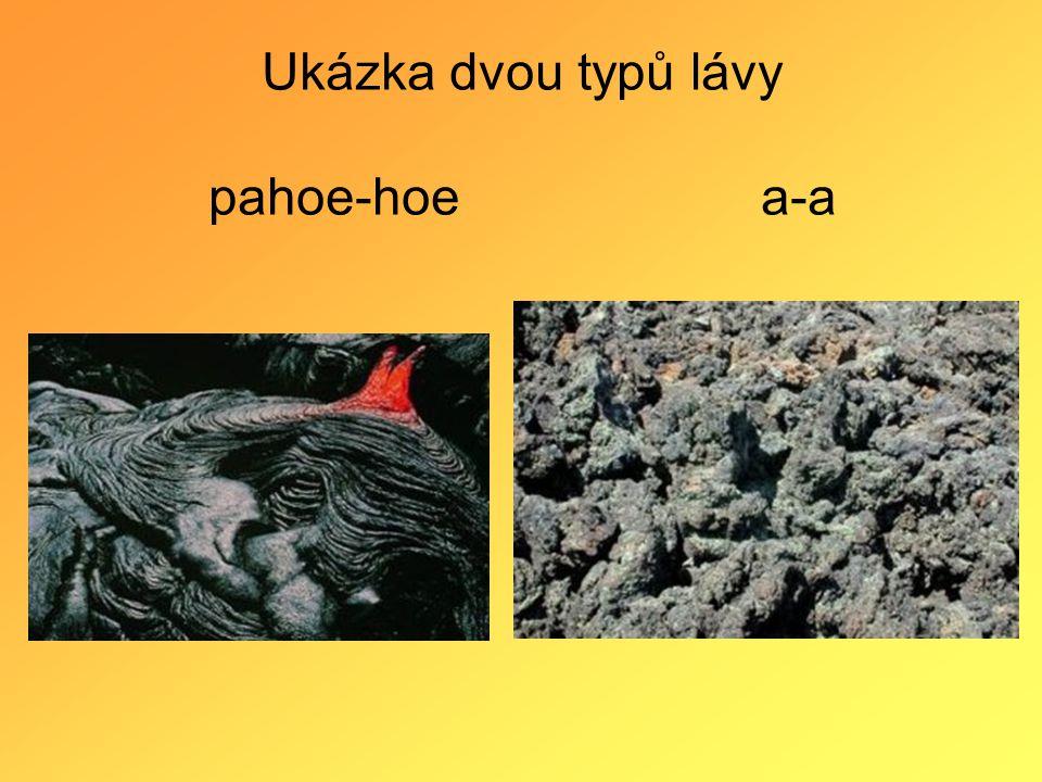 Ukázka dvou typů lávy pahoe-hoe a-a
