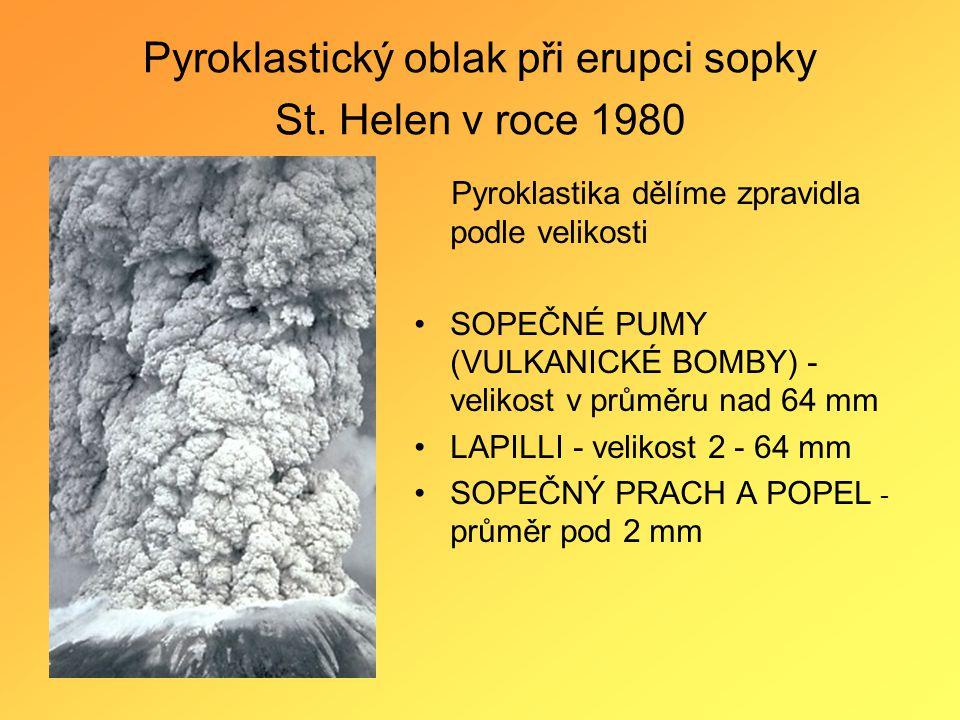 Pyroklastický oblak při erupci sopky St. Helen v roce 1980