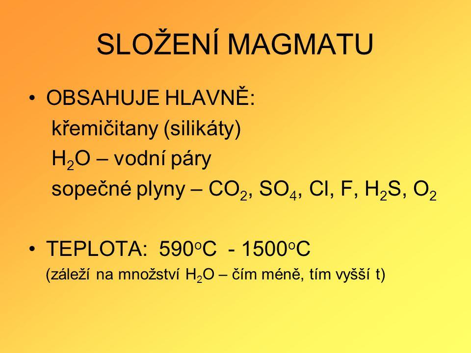 SLOŽENÍ MAGMATU OBSAHUJE HLAVNĚ: křemičitany (silikáty)