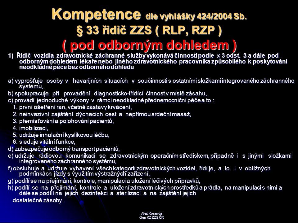 Kompetence dle vyhlášky 424/2004 Sb