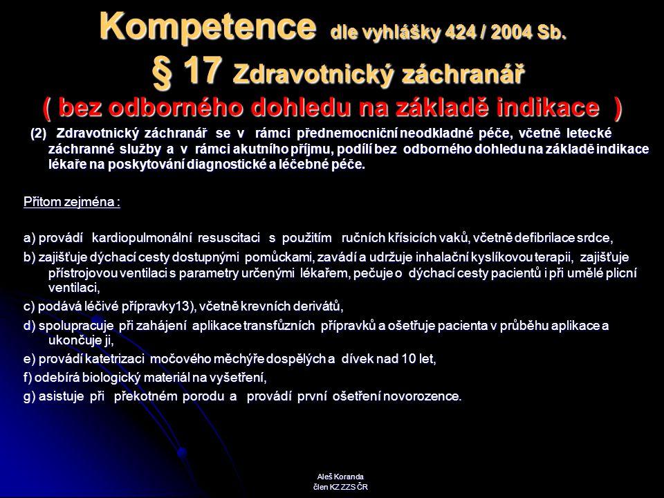 Kompetence dle vyhlášky 424 / 2004 Sb