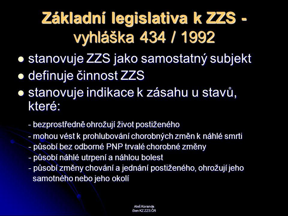 Základní legislativa k ZZS - vyhláška 434 / 1992