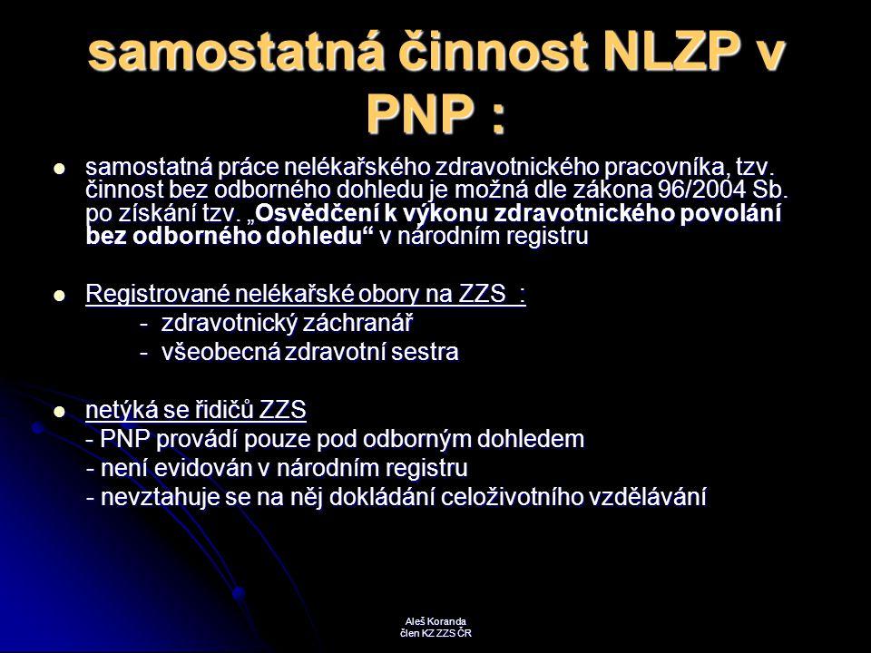 samostatná činnost NLZP v PNP :