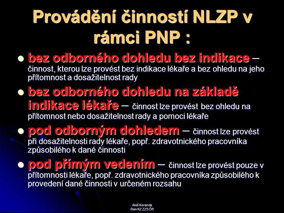 Provádění činností NLZP v rámci PNP :