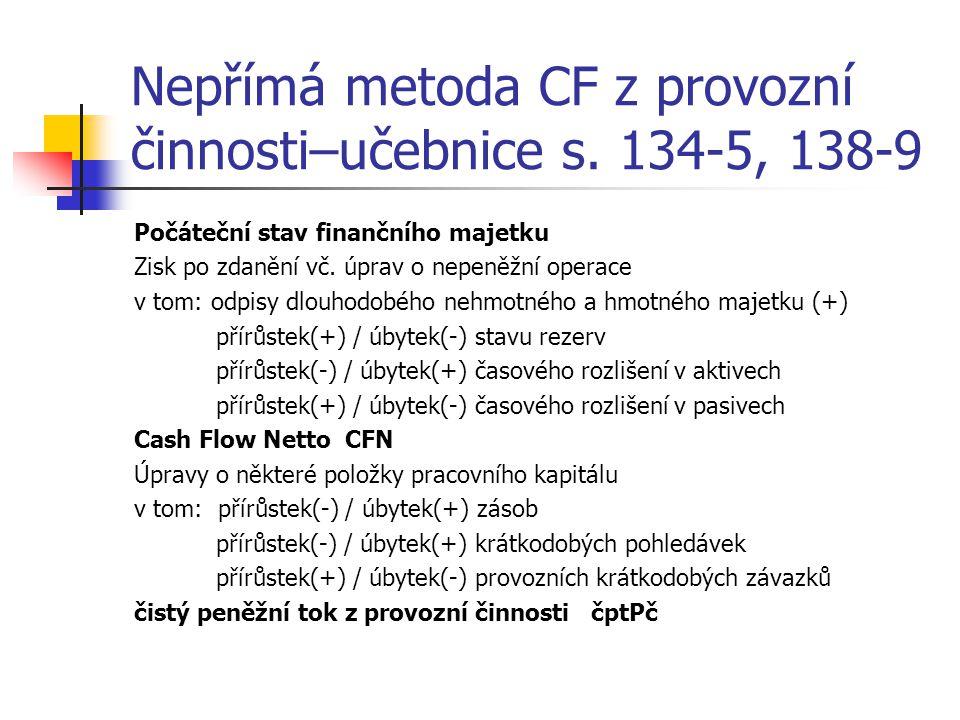 Nepřímá metoda CF z provozní činnosti–učebnice s. 134-5, 138-9