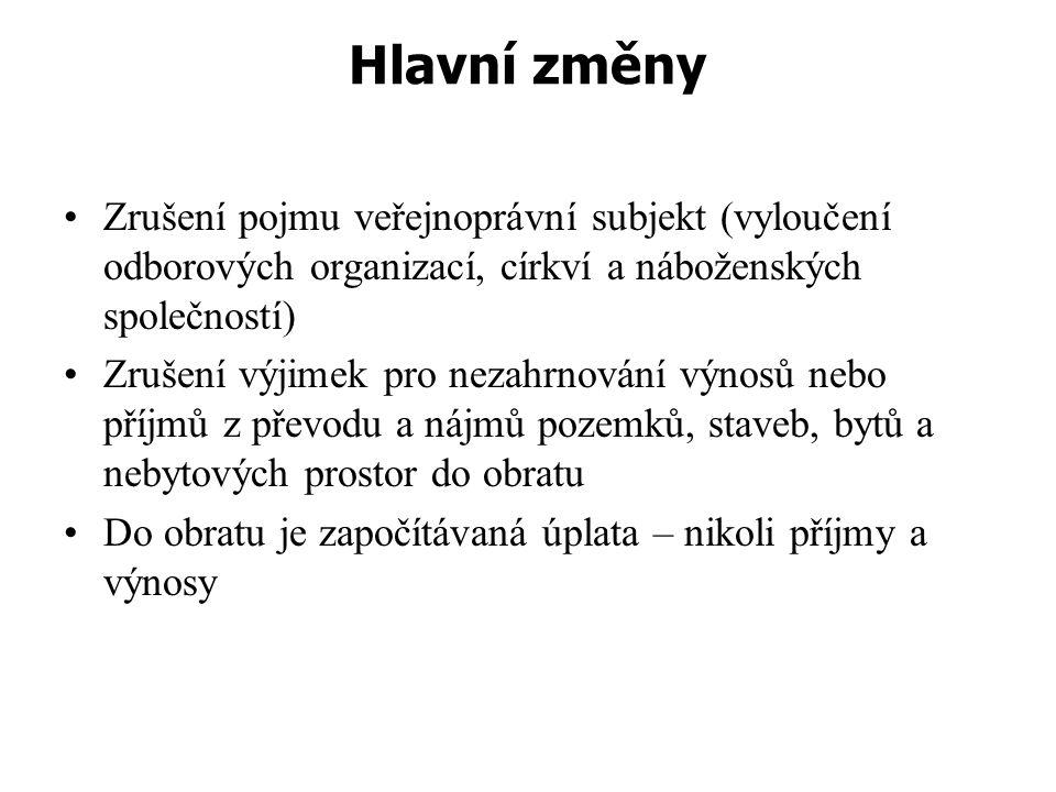 Hlavní změny Zrušení pojmu veřejnoprávní subjekt (vyloučení odborových organizací, církví a náboženských společností)