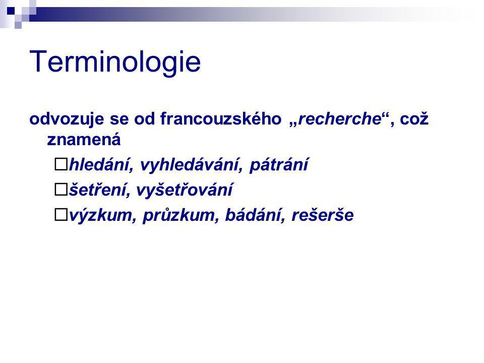 """Terminologie odvozuje se od francouzského """"recherche , což znamená"""