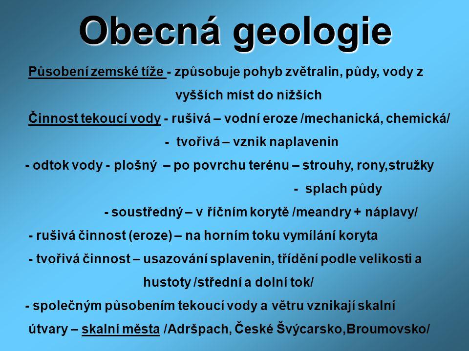 Obecná geologie Působení zemské tíže - způsobuje pohyb zvětralin, půdy, vody z. vyšších míst do nižších.