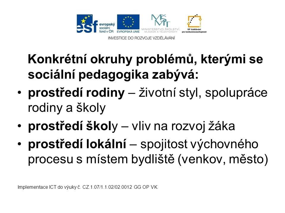 Konkrétní okruhy problémů, kterými se sociální pedagogika zabývá: