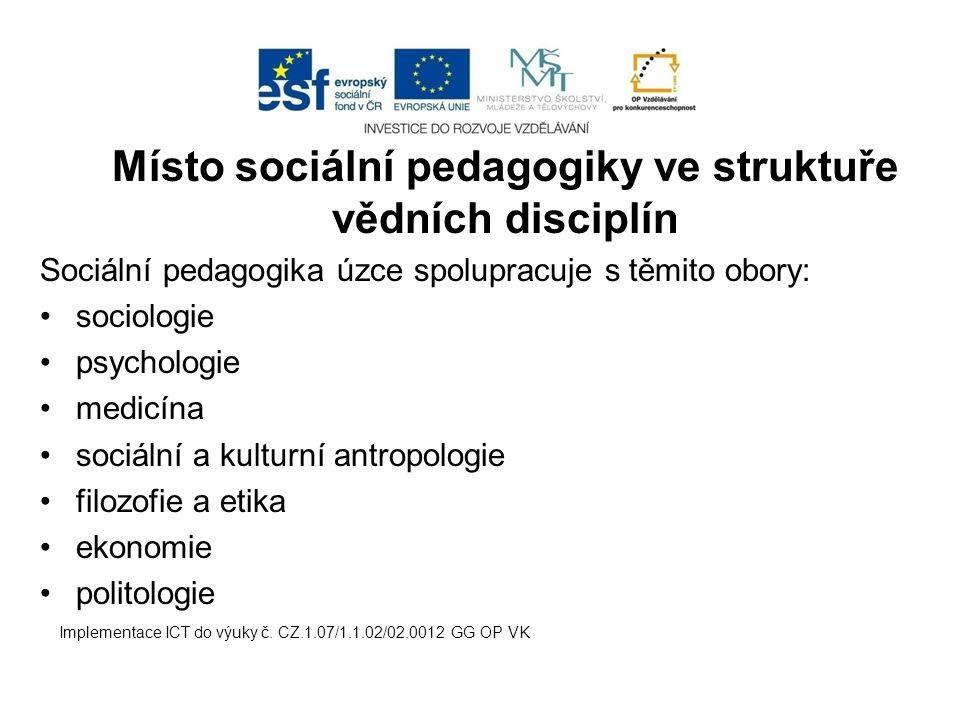 Místo sociální pedagogiky ve struktuře vědních disciplín