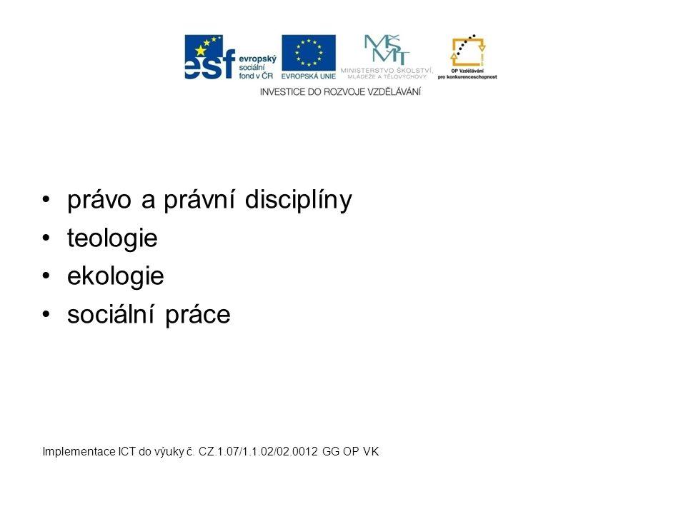 právo a právní disciplíny teologie ekologie sociální práce