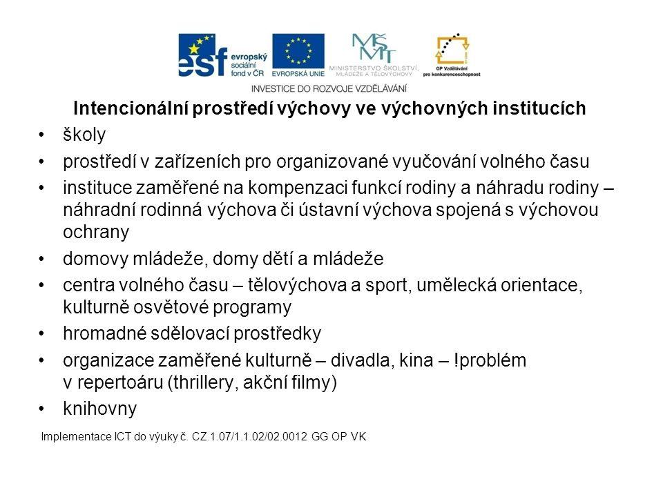 Intencionální prostředí výchovy ve výchovných institucích