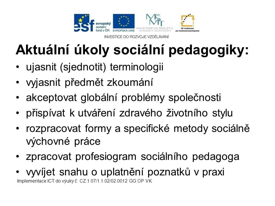 Aktuální úkoly sociální pedagogiky: