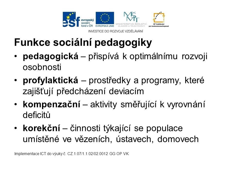 Funkce sociální pedagogiky