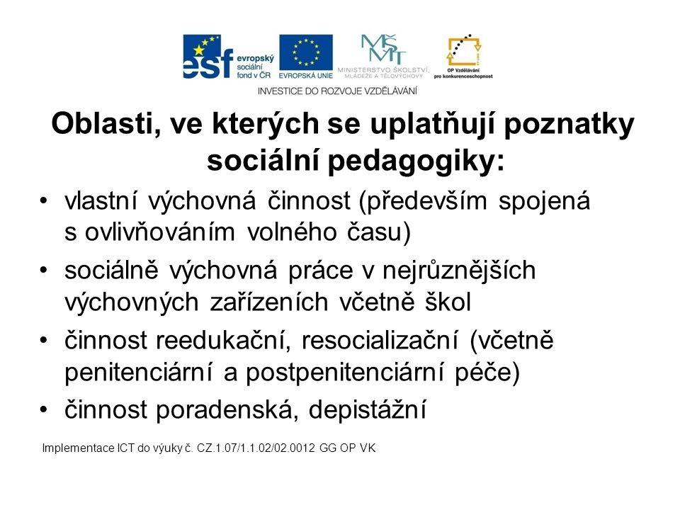 Oblasti, ve kterých se uplatňují poznatky sociální pedagogiky: