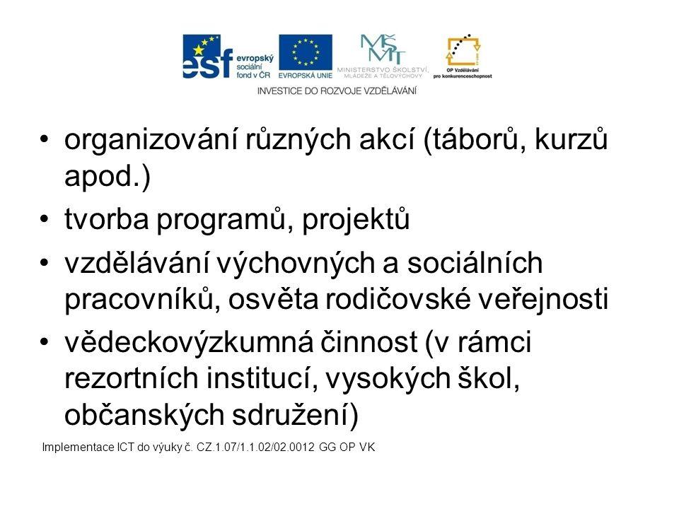organizování různých akcí (táborů, kurzů apod.)