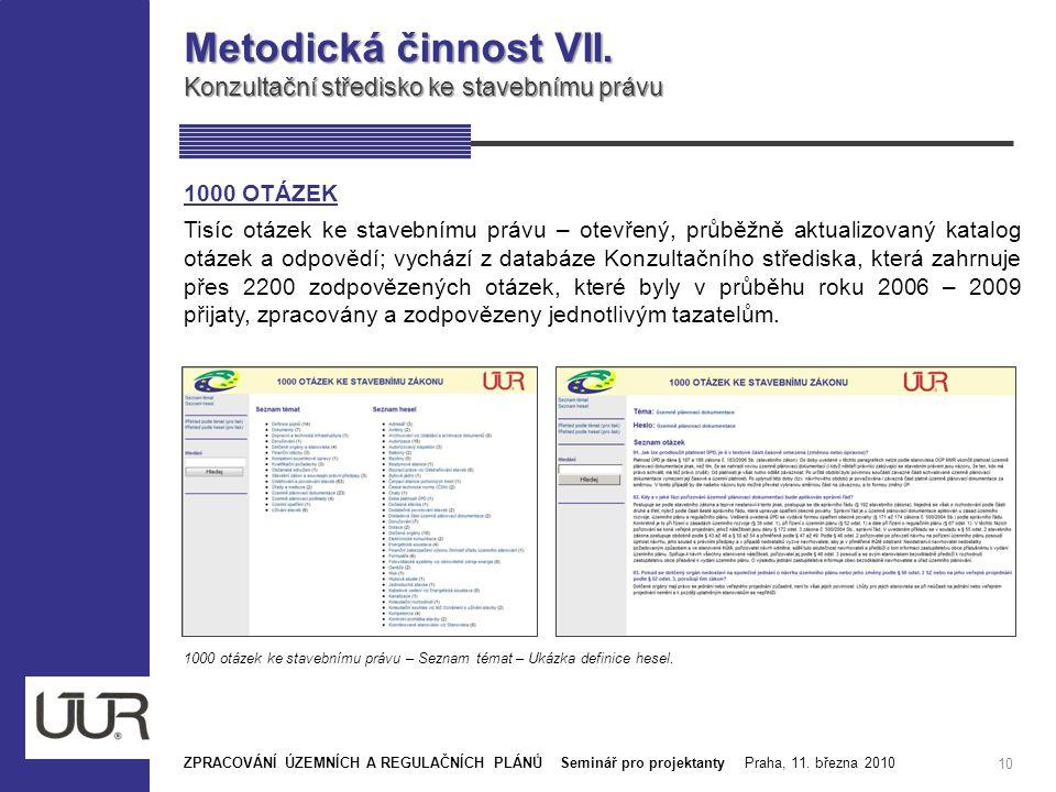 Metodická činnost VII. Konzultační středisko ke stavebnímu právu