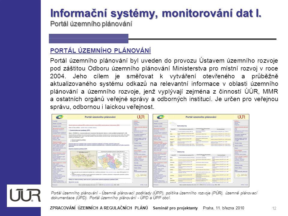 Informační systémy, monitorování dat I. Portál územního plánování