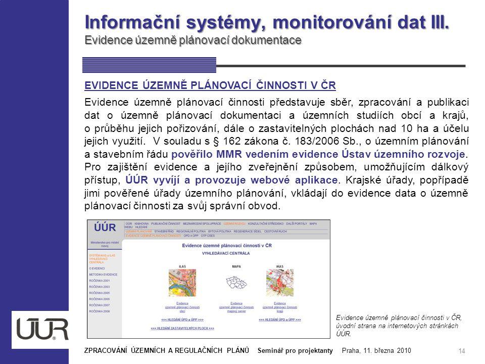 Informační systémy, monitorování dat III