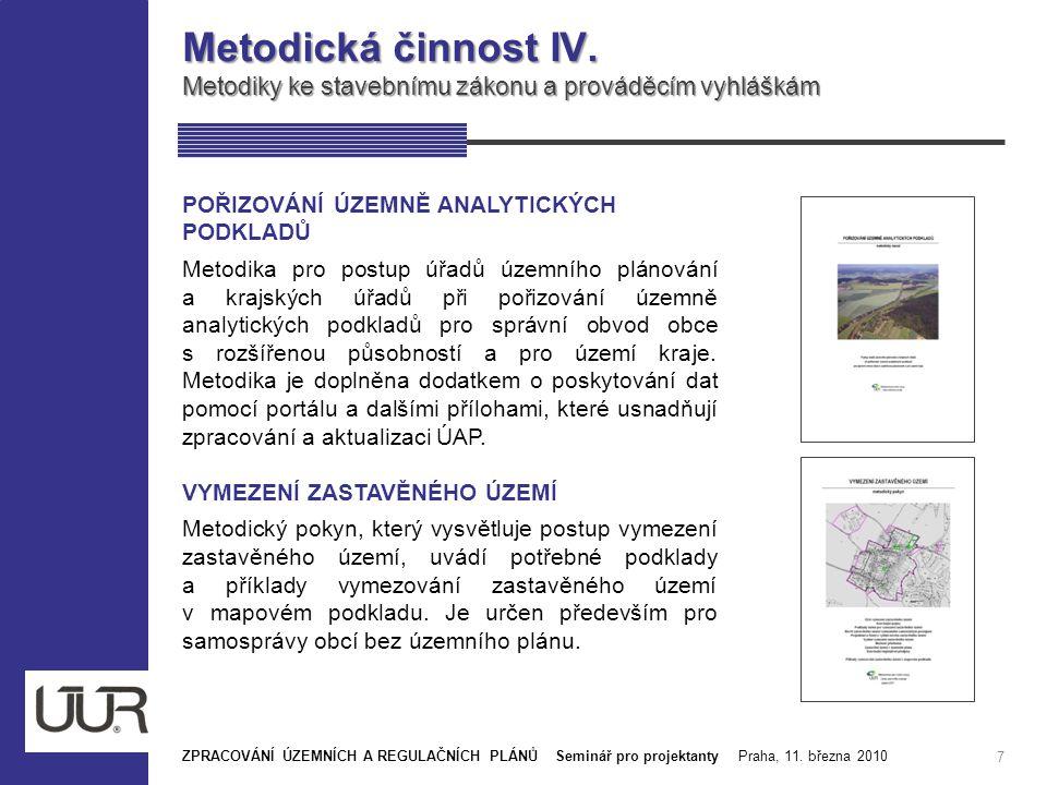 Metodická činnost IV. Metodiky ke stavebnímu zákonu a prováděcím vyhláškám. POŘIZOVÁNÍ ÚZEMNĚ ANALYTICKÝCH PODKLADŮ.