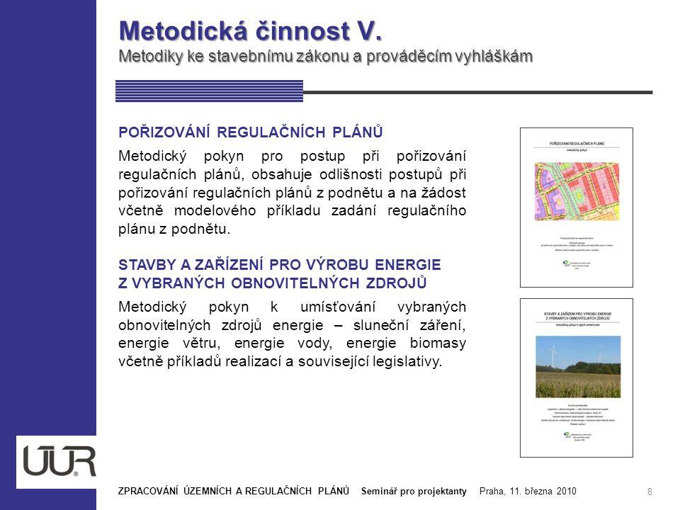 Metodická činnost V. Metodiky ke stavebnímu zákonu a prováděcím vyhláškám. POŘIZOVÁNÍ REGULAČNÍCH PLÁNŮ.