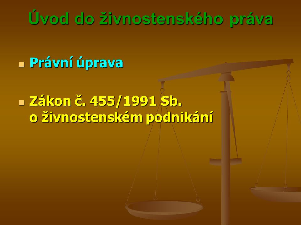 Úvod do živnostenského práva