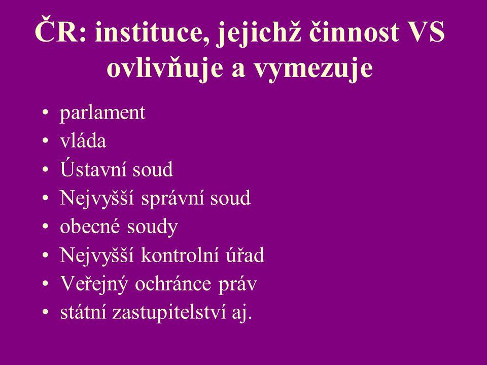 ČR: instituce, jejichž činnost VS ovlivňuje a vymezuje