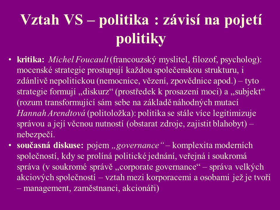 Vztah VS – politika : závisí na pojetí politiky