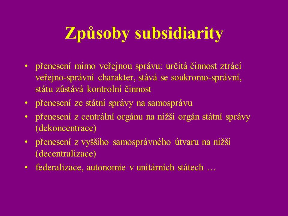 Způsoby subsidiarity
