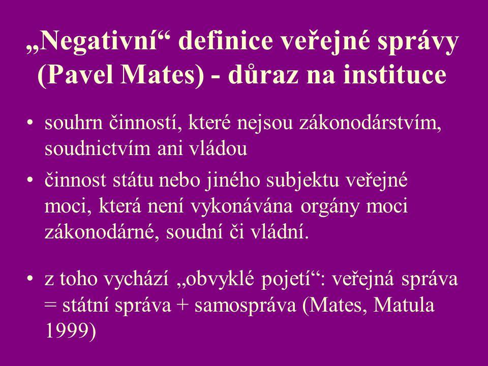 """""""Negativní definice veřejné správy (Pavel Mates) - důraz na instituce"""