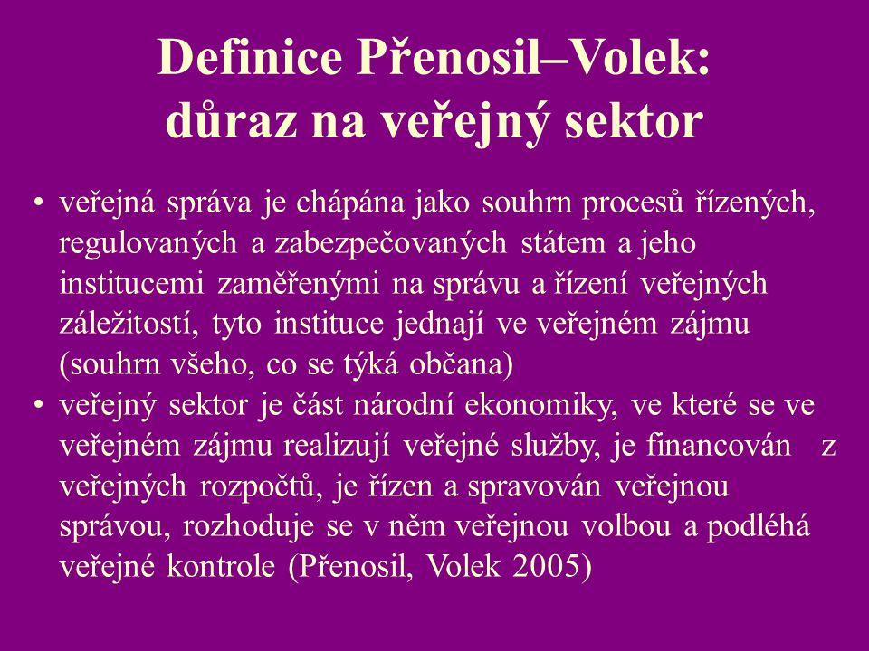 Definice Přenosil–Volek: důraz na veřejný sektor