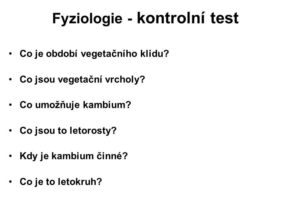 Fyziologie - kontrolní test