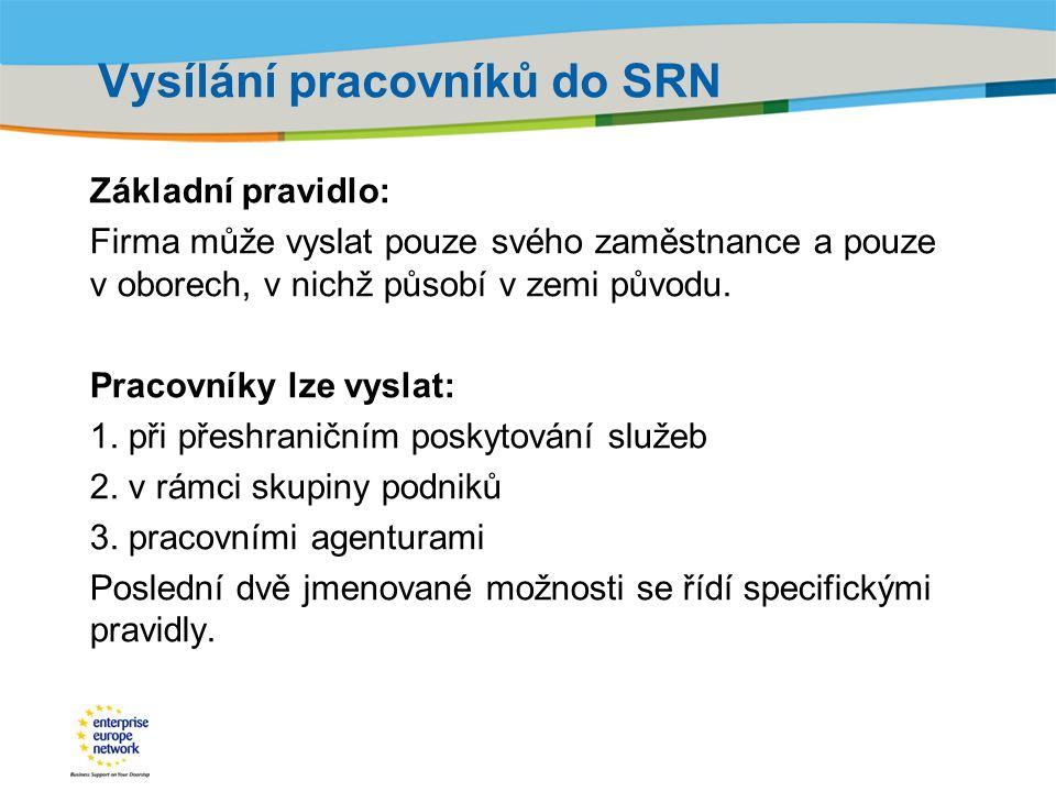 Vysílání pracovníků do SRN
