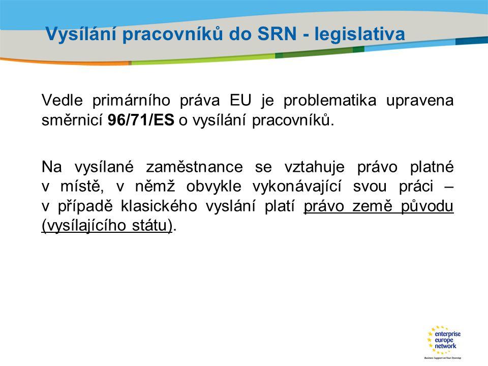 Vysílání pracovníků do SRN - legislativa