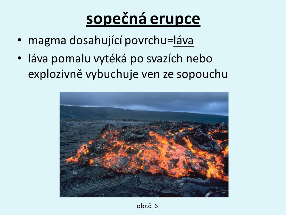 sopečná erupce magma dosahující povrchu=láva