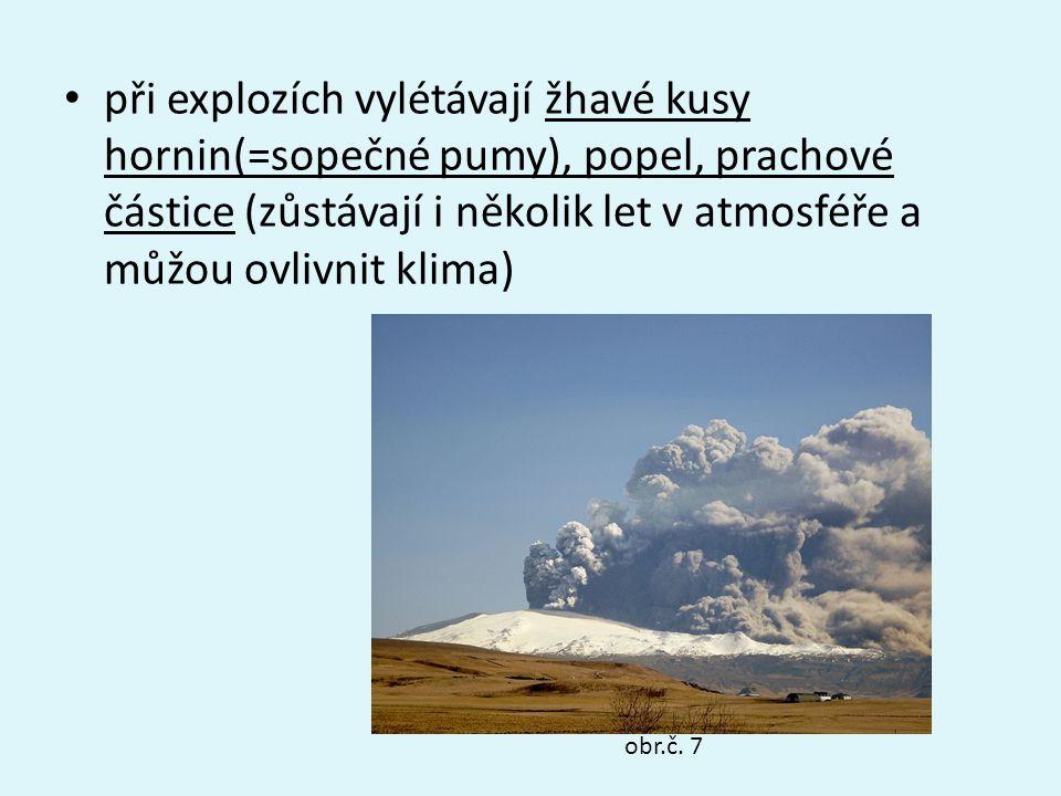 při explozích vylétávají žhavé kusy hornin(=sopečné pumy), popel, prachové částice (zůstávají i několik let v atmosféře a můžou ovlivnit klima)