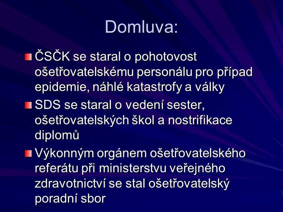 Domluva: ČSČK se staral o pohotovost ošetřovatelskému personálu pro případ epidemie, náhlé katastrofy a války.