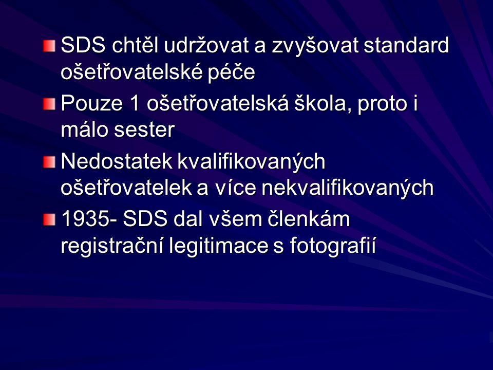 SDS chtěl udržovat a zvyšovat standard ošetřovatelské péče