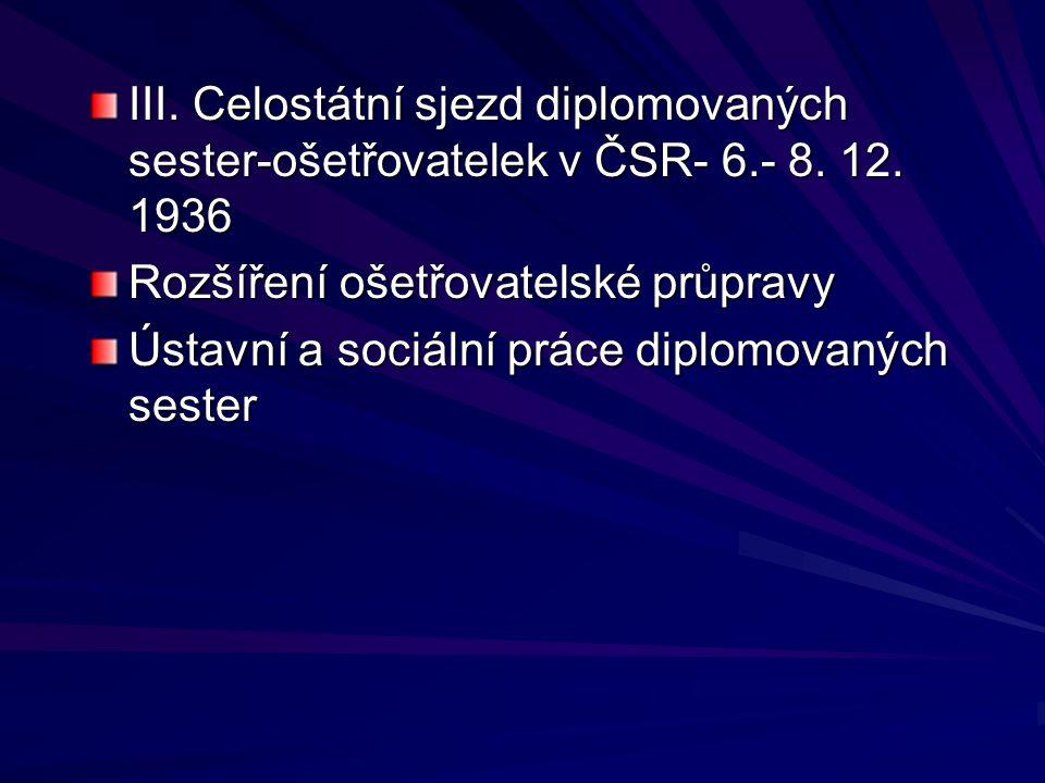 III. Celostátní sjezd diplomovaných sester-ošetřovatelek v ČSR- 6. - 8