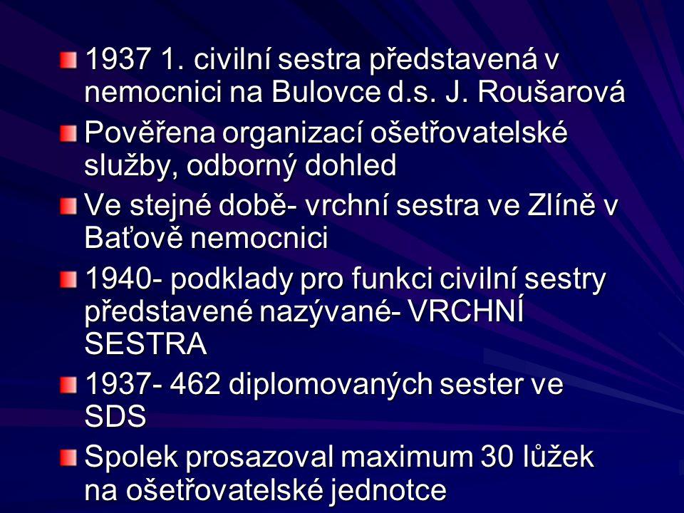 1937 1. civilní sestra představená v nemocnici na Bulovce d. s. J