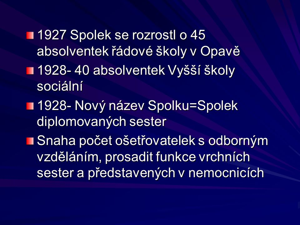1927 Spolek se rozrostl o 45 absolventek řádové školy v Opavě