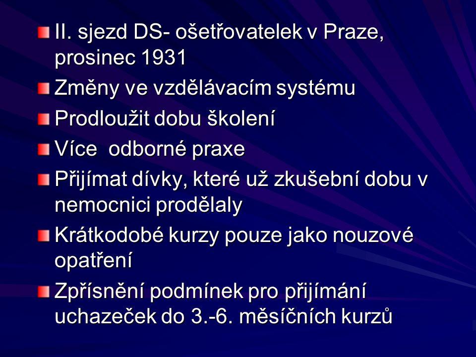 II. sjezd DS- ošetřovatelek v Praze, prosinec 1931