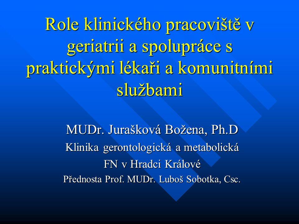 Role klinického pracoviště v geriatrii a spolupráce s praktickými lékaři a komunitními službami