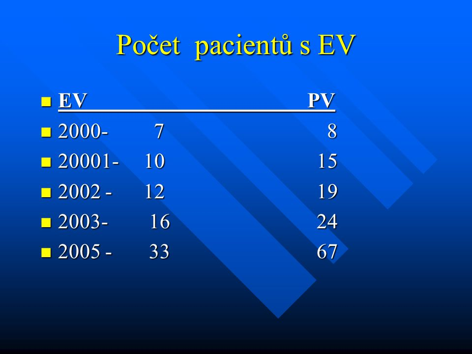 Počet pacientů s EV EV PV 2000- 7 8 20001- 10 15 2002 - 12 19