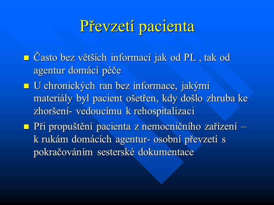Převzetí pacienta Často bez větších informací jak od PL , tak od agentur domácí péče.