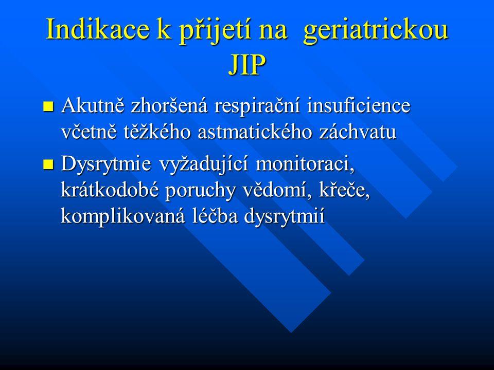 Indikace k přijetí na geriatrickou JIP