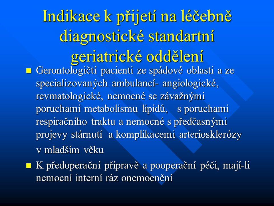 Indikace k přijetí na léčebně diagnostické standartní geriatrické oddělení