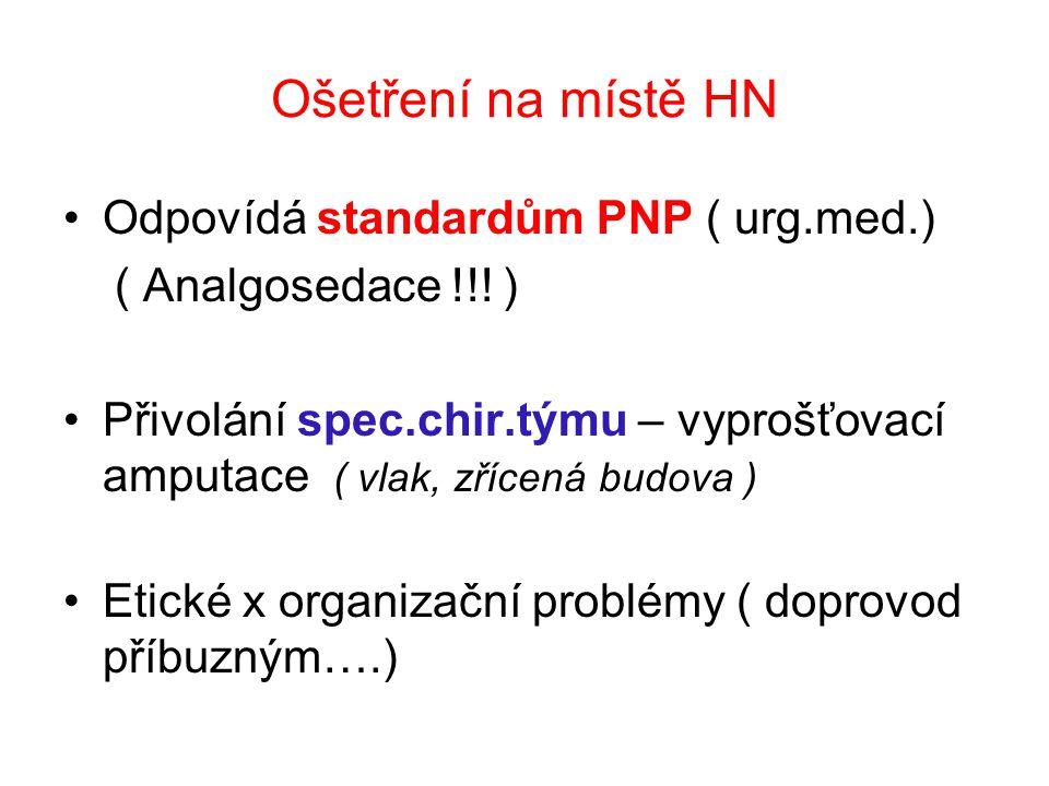 Ošetření na místě HN Odpovídá standardům PNP ( urg.med.)