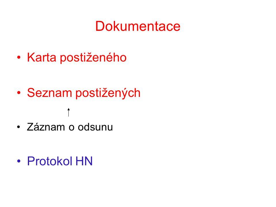 Dokumentace Karta postiženého Seznam postižených Protokol HN