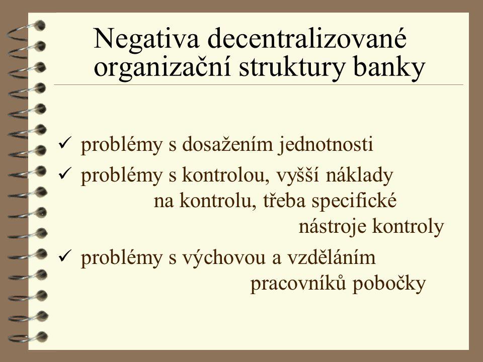 Negativa decentralizované organizační struktury banky